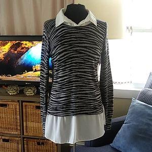 DKNYC black and gray animal print sweater